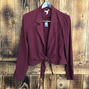 NWT Silence + Noise - Maroon Tie Front Blouse - M